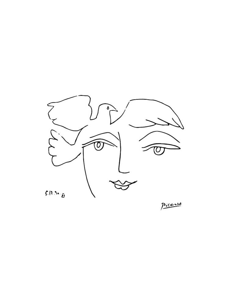 Pablo Picasso Rare Le Visage De La Paix (The Face Of Peace)1950 Line Drawing Artwork For Prints Posters Tshirts Bags Women Men Kids by clothorama