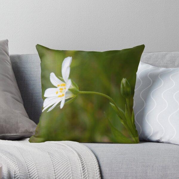 Greater Stitchwort (Stellaria palustris) Throw Pillow