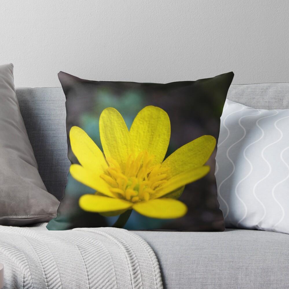 Lesser Celandine (Ranunculus ficaria) Throw Pillow
