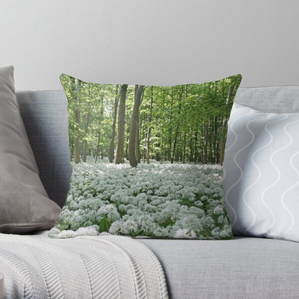Ramsons in the shady forest Throw Pillow