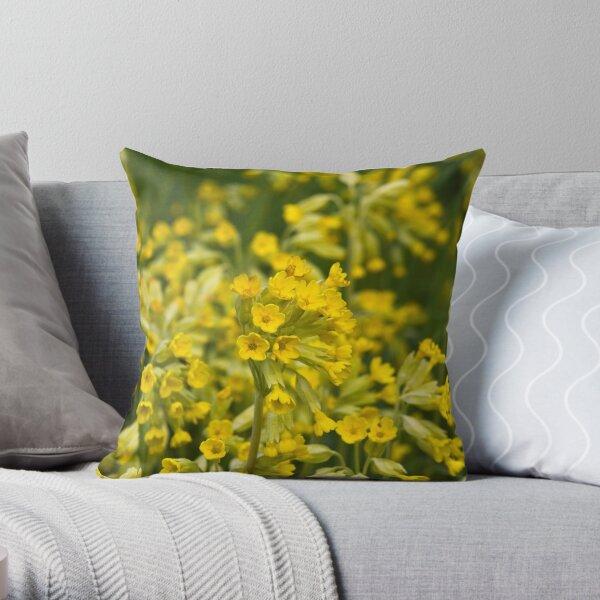 Cowslips (Primula veris) Throw Pillow