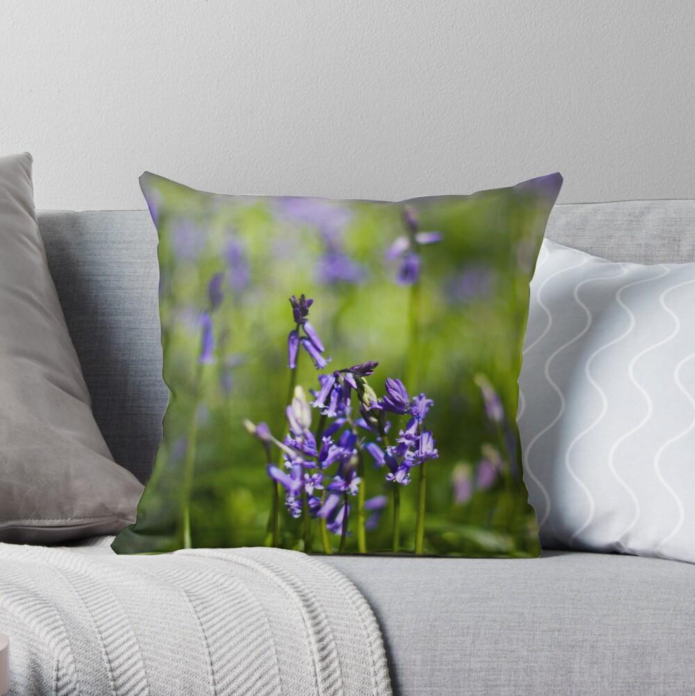 Bluebells (Hyacinthoides non-scripta) Throw Pillow