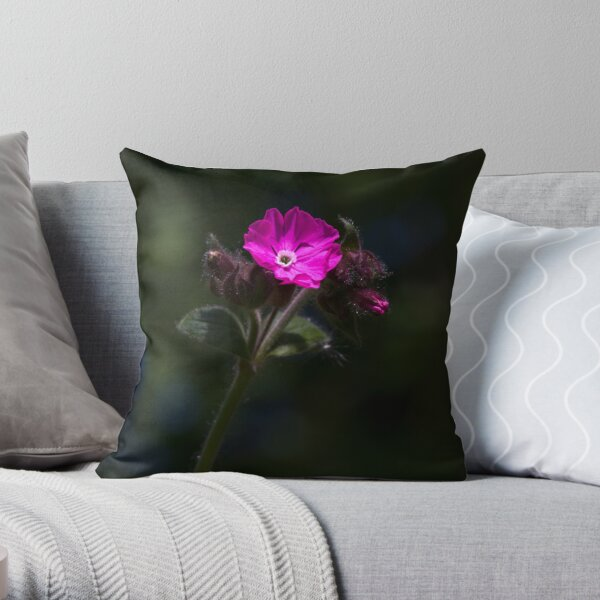 Red Campion (Silene dioica) Throw Pillow