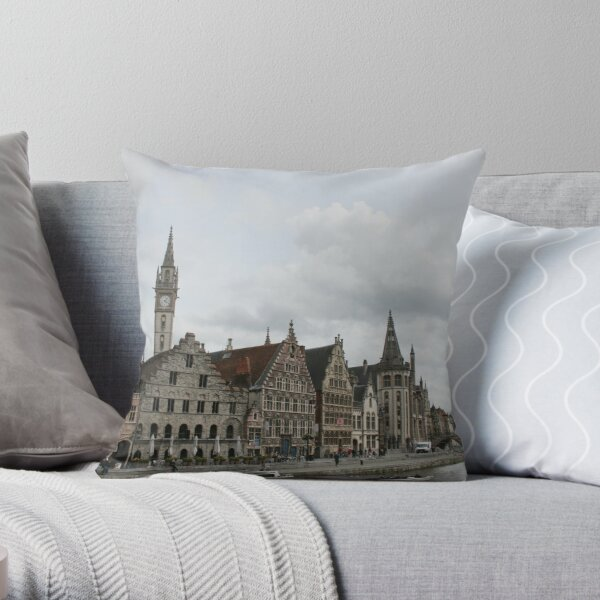 The Graslei, Ghent Throw Pillow