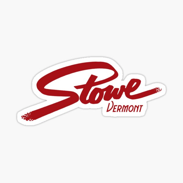 SKIING STOWE VERMONT SKI MOUNTAINS SNOWBOARD TYPOGRAPHY Sticker