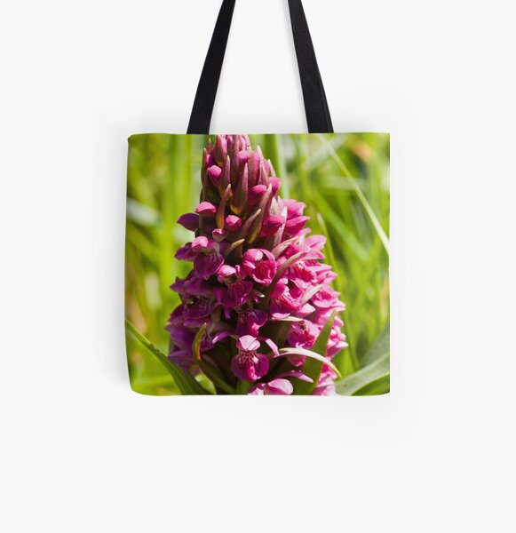 Southern Marsh Orchid (Dactylorhiza praetermissa) All Over Print Tote Bag