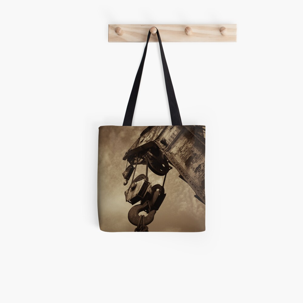 Retired crane - sepia Tote Bag