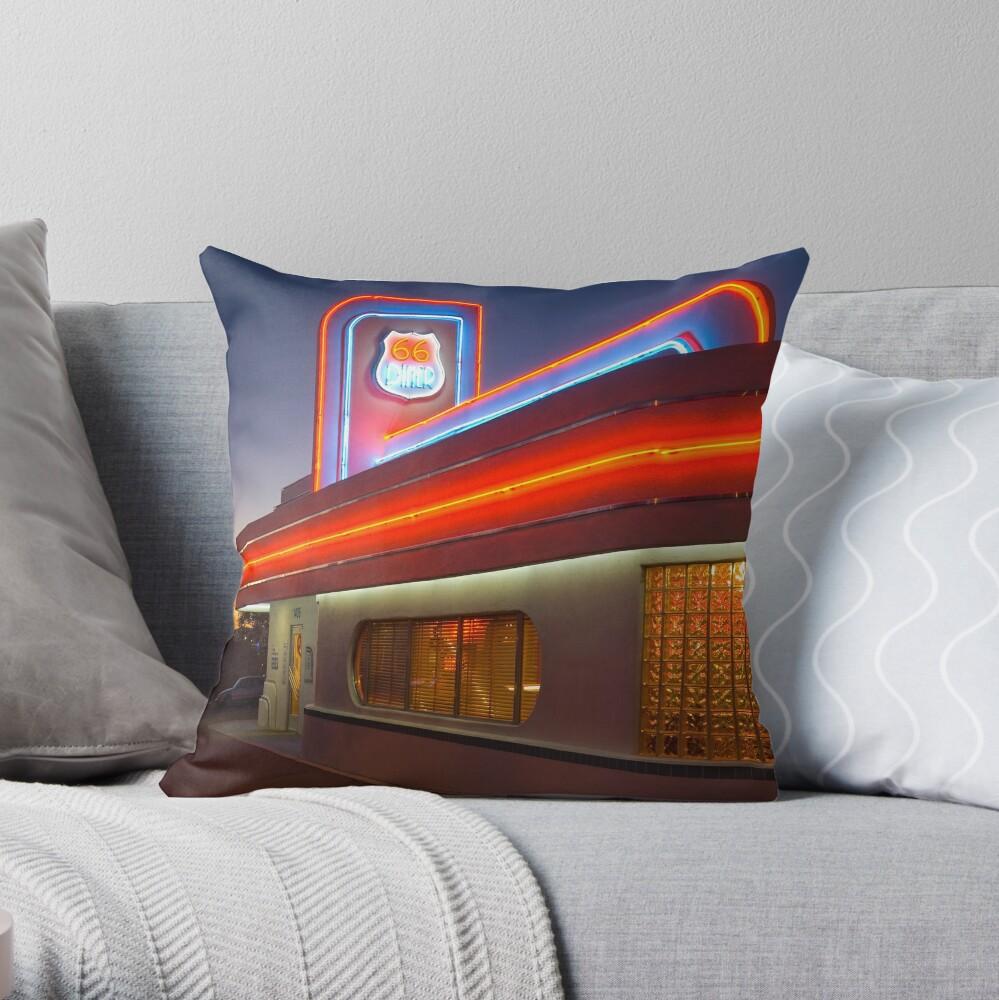 USA. New Mexico. Albuquerque. Route 66 Diner. (Alan Copson ©) Throw Pillow