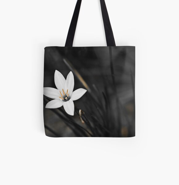 White on black flower All Over Print Tote Bag