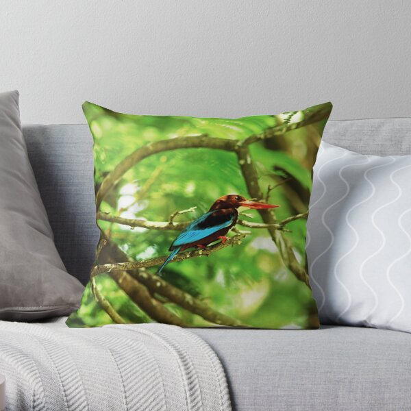 White throated Kingfisher #1 Throw Pillow