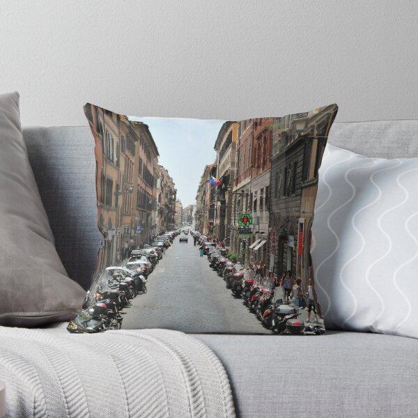Street scene in Rome Throw Pillow