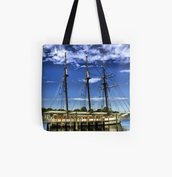 Ship Docked On The Mystic River All Over Print Tote Bag