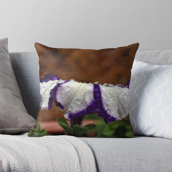 Wet Striped Petunia Throw Pillow