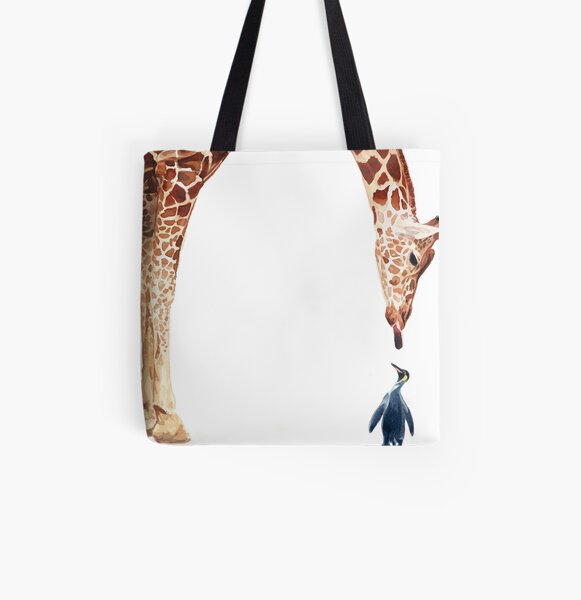 """Licker with Penguin"" Giraffe Watercolor All Over Print Tote Bag"