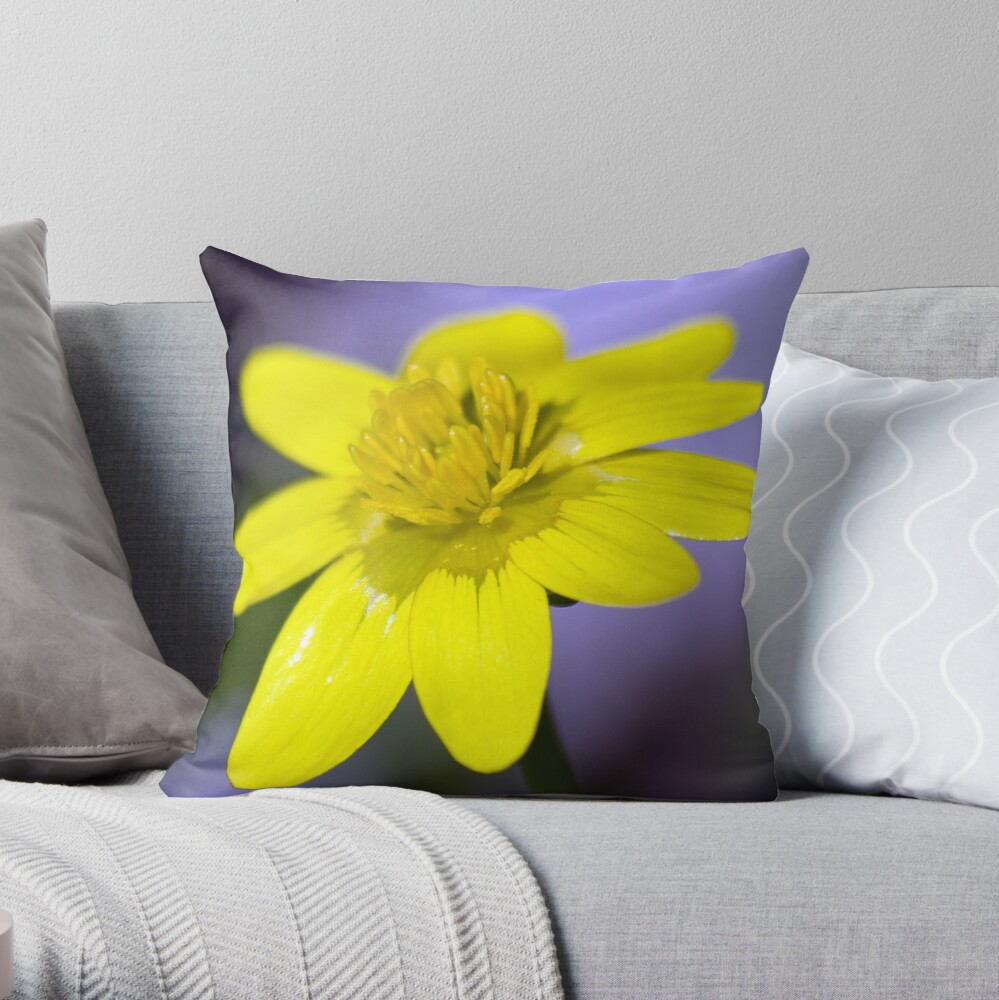 Yellow Celendines Throw Pillow
