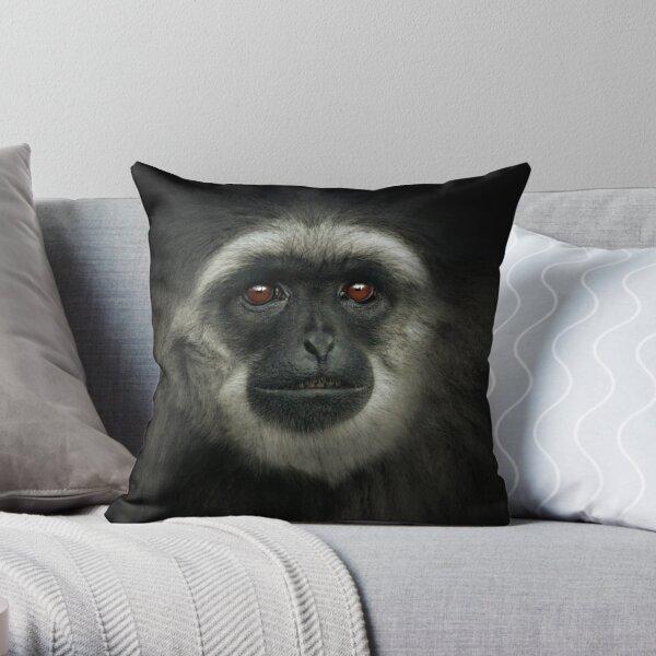 Silvery Gibbon Throw Pillow
