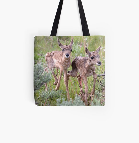 Pronghorn Twins Romping All Over Print Tote Bag