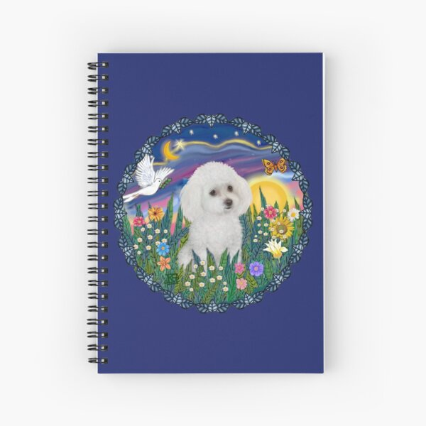 Garden Sunrise with a Poodle (white) Spiral Notebook
