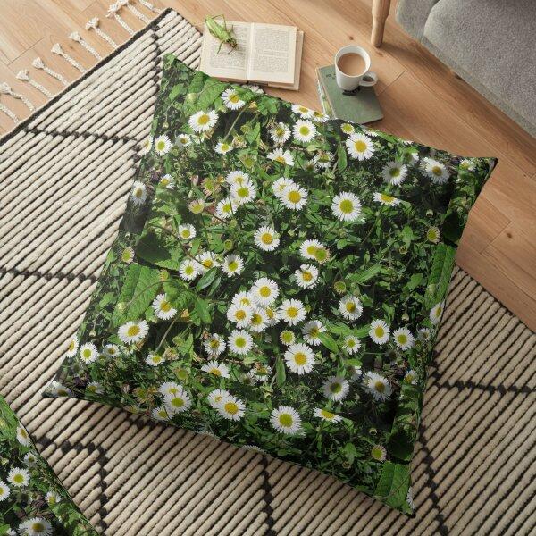 Wall Daisies In My Garden (Erigeron) Floor Pillow