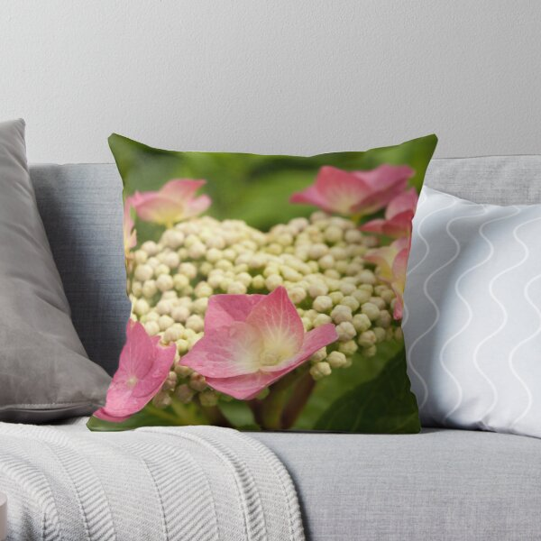 Circle of soft pink flowers Throw Pillow