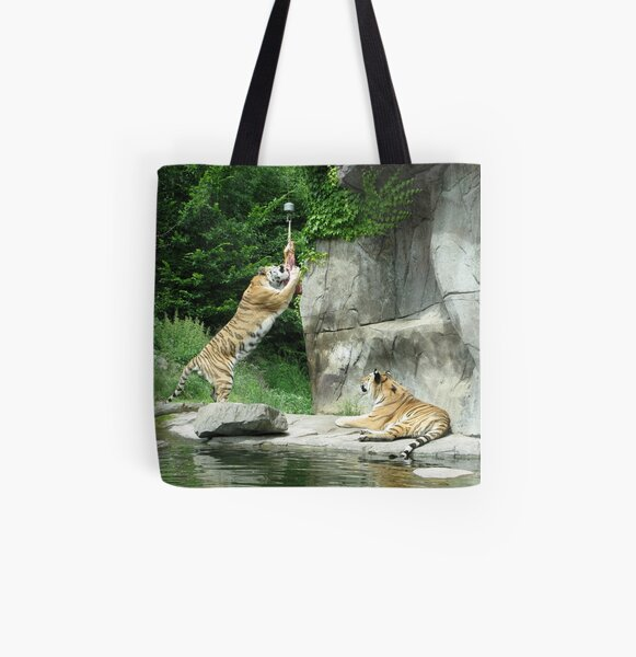 Tiger couple at snacktime, horizontal All Over Print Tote Bag