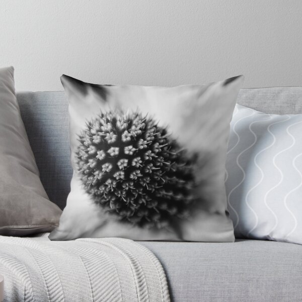 Heart of the White Explosion in Monochrome Throw Pillow