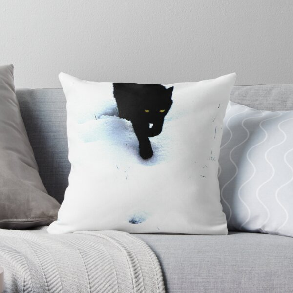 Cat in Snow ~ Black and White Throw Pillow