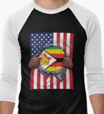 Zimbabwe Flag American Flag Ripped - Gift For Zimbabwean From Zimbabwe Baseballshirt für Männer