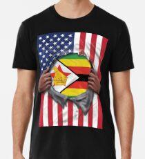 Zimbabwe Flag American Flag Ripped - Gift For Zimbabwean From Zimbabwe Männer Premium T-Shirts