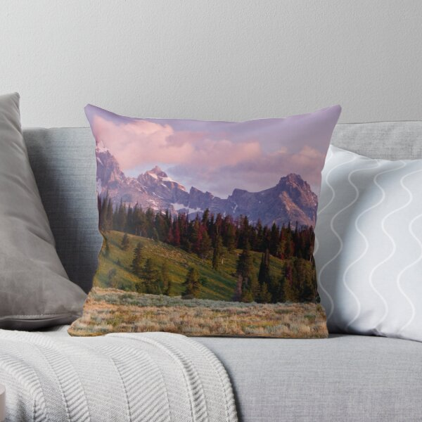 The Grand, Teewinot, and Mt. Owen... the Tetons Throw Pillow
