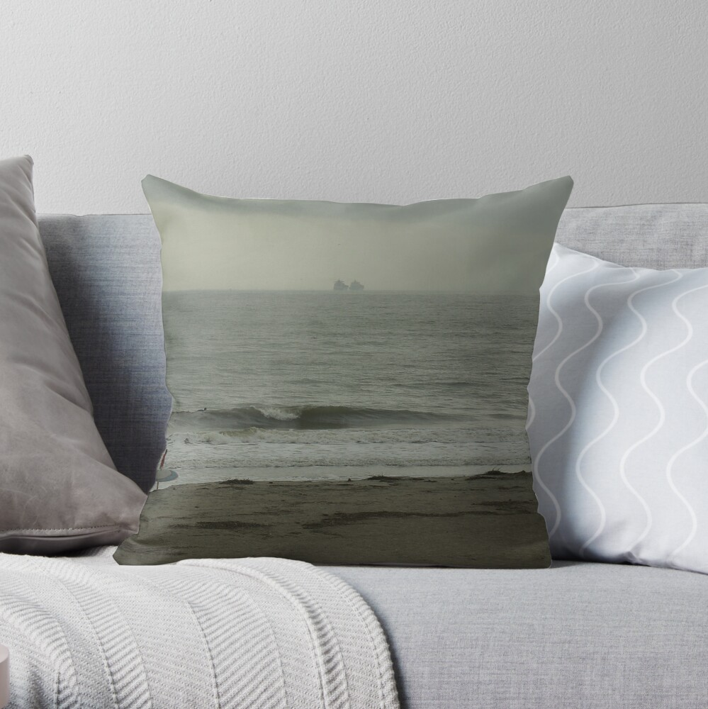 Ships and Surfing Throw Pillow