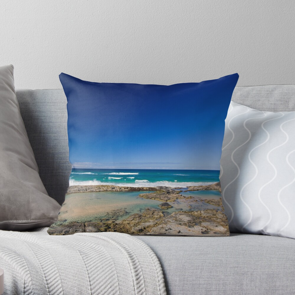 Champagne Pools, Fraser Island Throw Pillow
