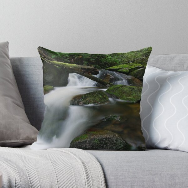 Cascading through the Mossy Boulders Throw Pillow