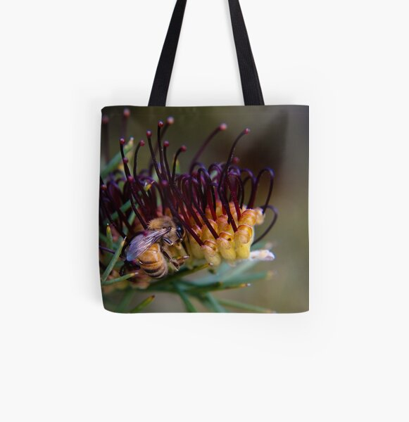 Bee on prikly toothbrushes All Over Print Tote Bag