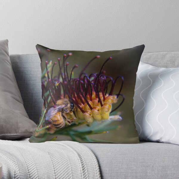 Bee on prikly toothbrushes Throw Pillow