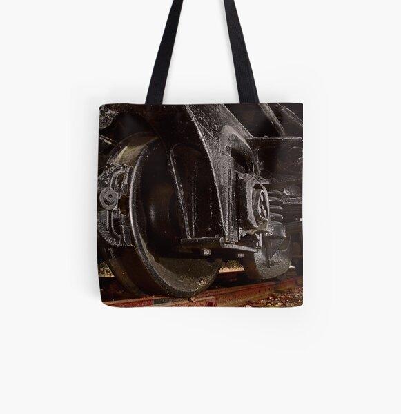 Train Wheels All Over Print Tote Bag