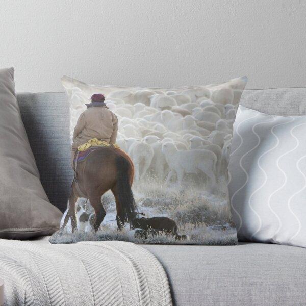 Sheep Herding, Red Desert, Wyoming Throw Pillow