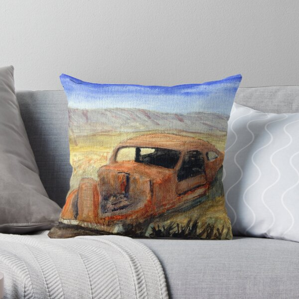 Antque Car That Didn't make it to Burns or Bend Oregon Watercolor Throw Pillow