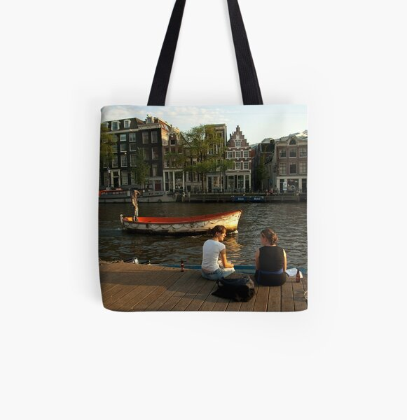 Two young women and a boatman All Over Print Tote Bag
