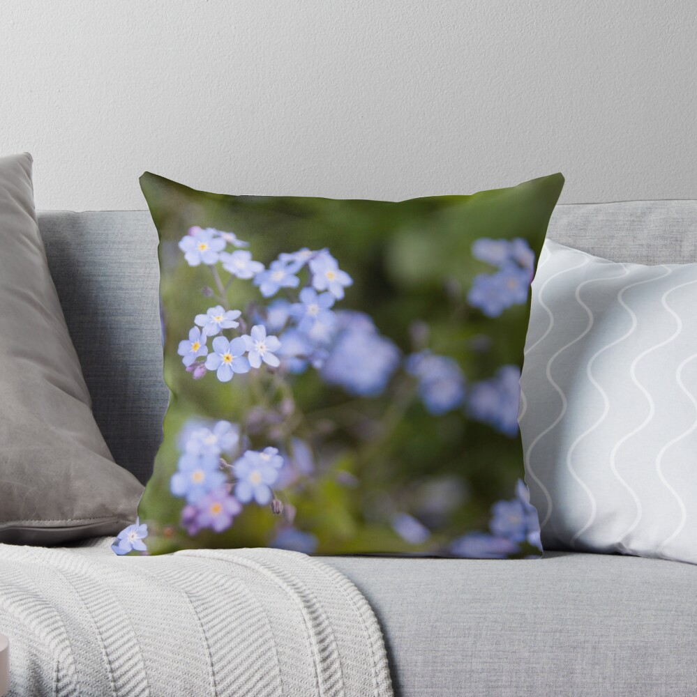 Blue forget-me-not Throw Pillow