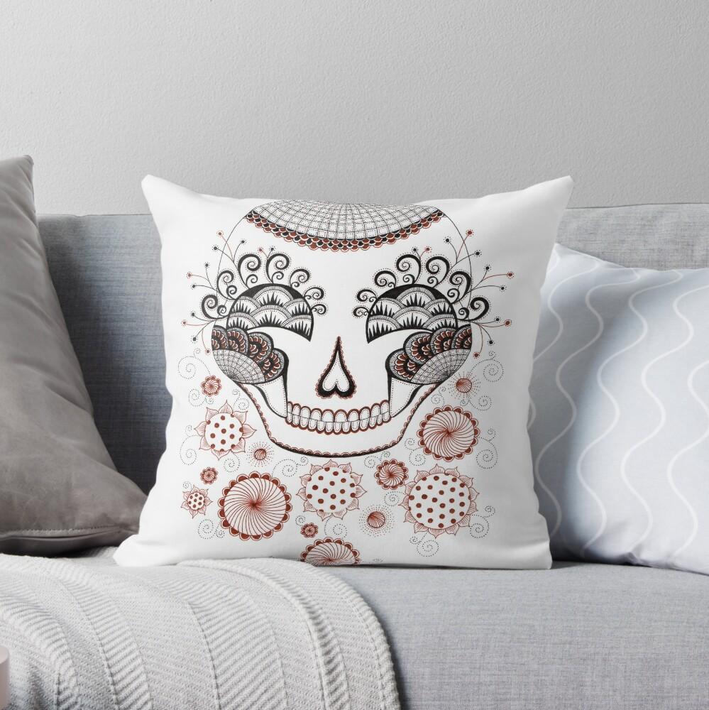 Carnival  Skull Throw Pillow