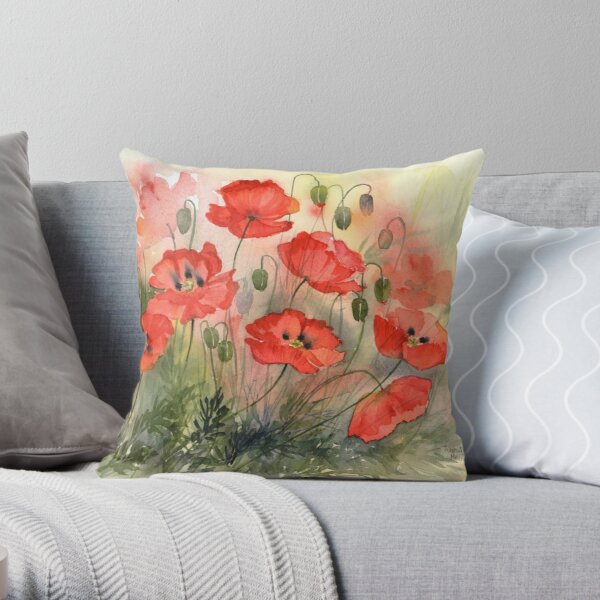 Field Poppies Throw Pillow