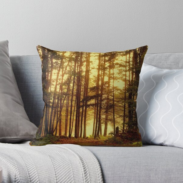 foggy mist in maine forest Throw Pillow