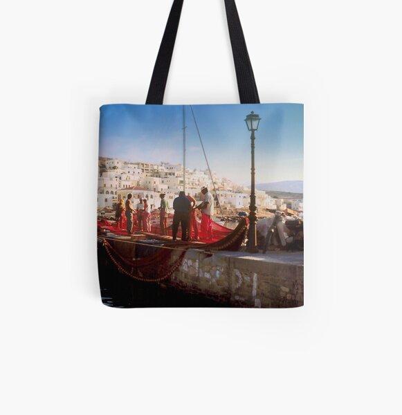 Paros Fishermen All Over Print Tote Bag