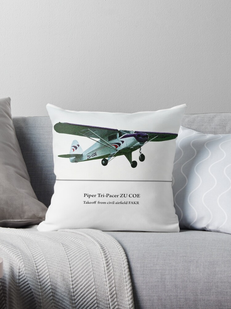 'Piper Tri-Pacer takeoff' Throw Pillow by Paul Lindenberg