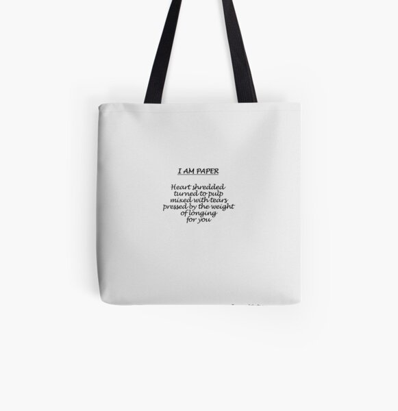 I Am Paper All Over Print Tote Bag