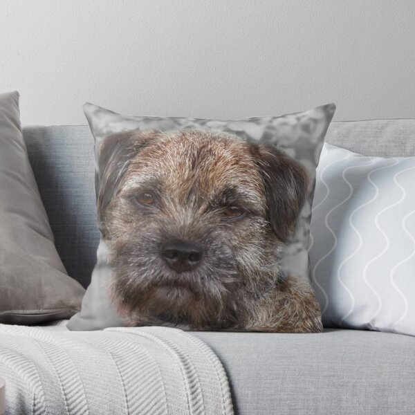 """BLUE"" - Border Terrier Throw Pillow"