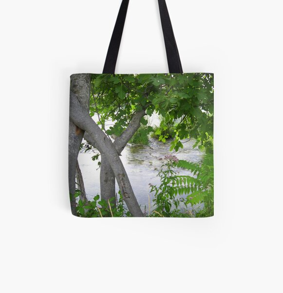GREEN, GRAY AND SILVER All Over Print Tote Bag