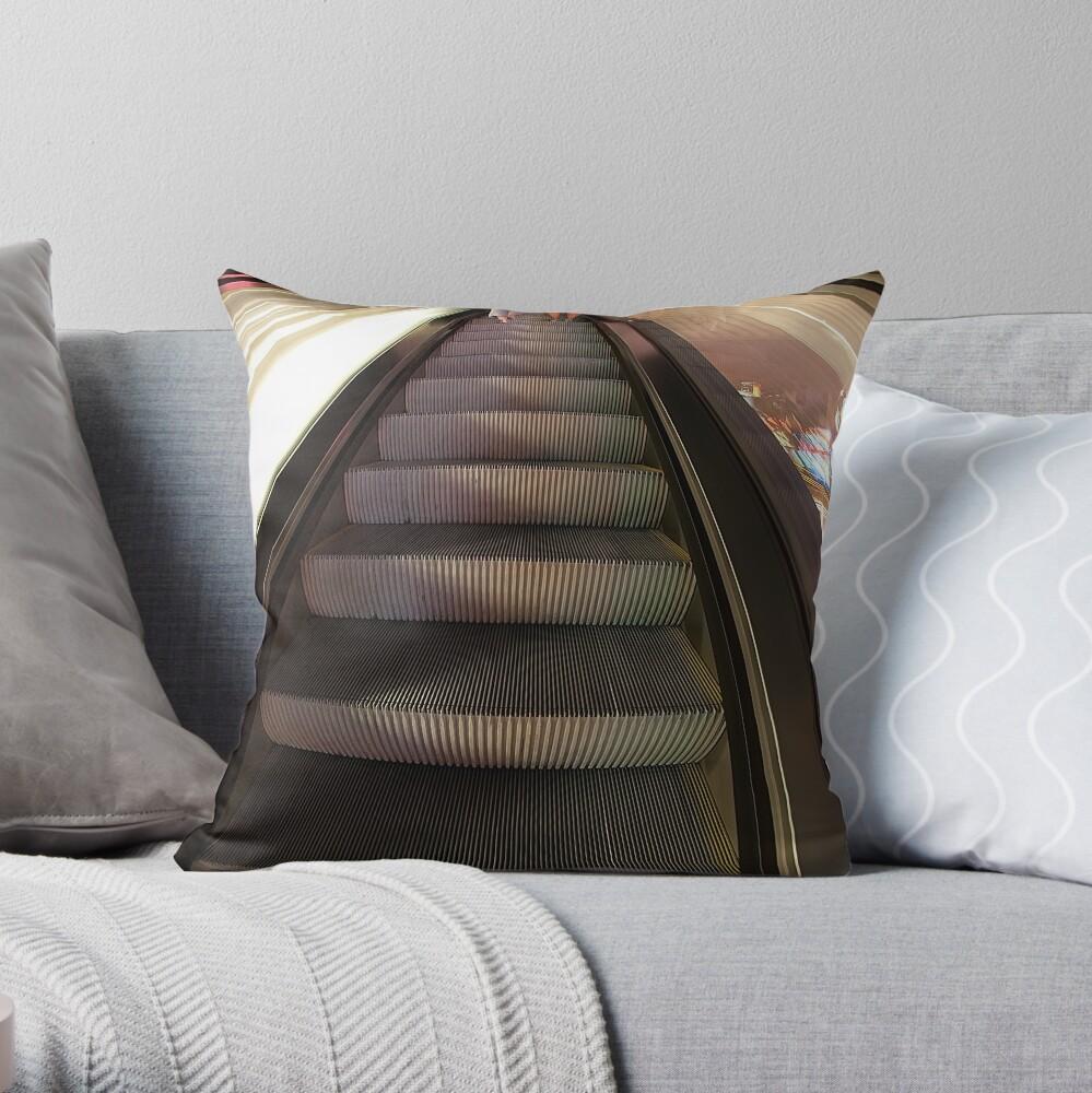 Riding the Escalator Throw Pillow