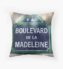 Paris Street Sign Throw Pillow